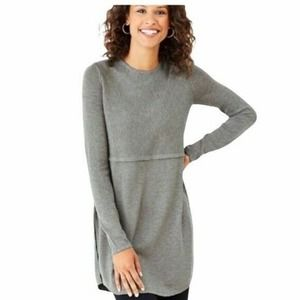 J Jill Grace Tunic Sweater Gray Wool Pullover L